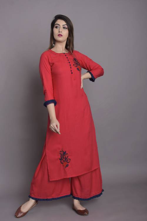 Red Rayon Embroidered Knee Length Kurti