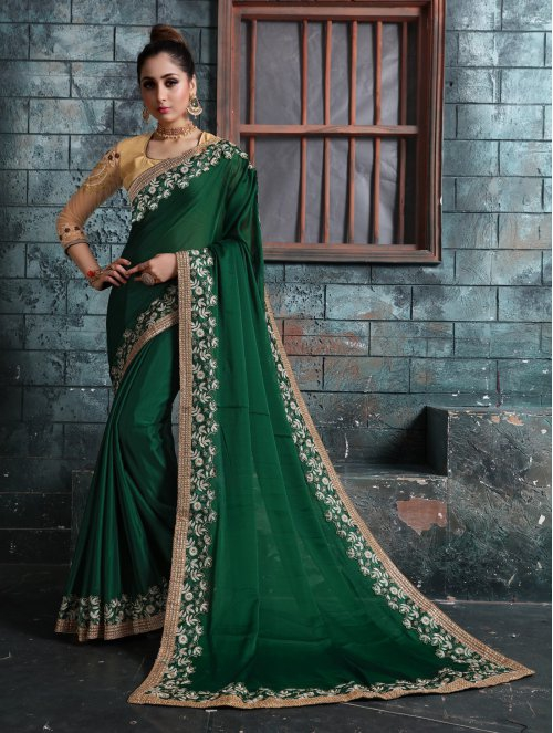 Craftsvilla Green Georgette Resham Embroidered Saree With Unstitched Blouse Material