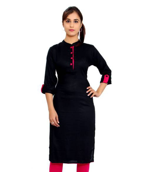 The Style Story Black Rayon Plain Straight Kurti
