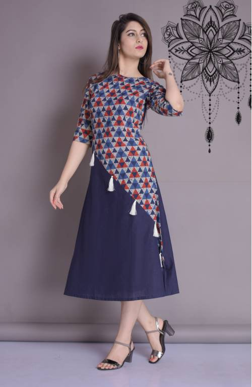The Style Story Blue Cotton Printed A Line Style Kurti
