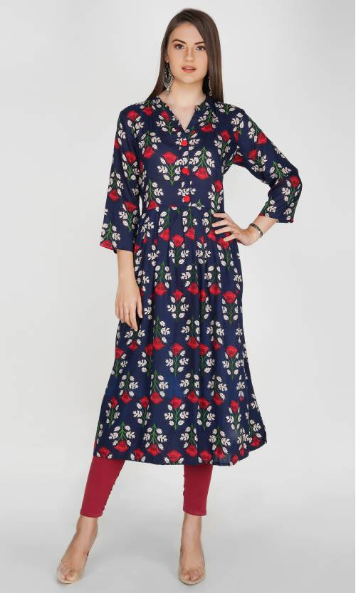 The Style Story Blue Rayon Printed A Line Style Kurti