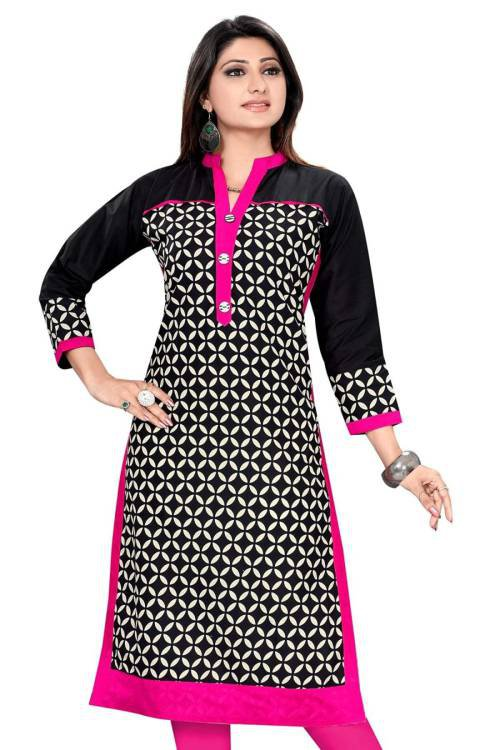 The Style Story Black Cotton Printed Straight Kurti
