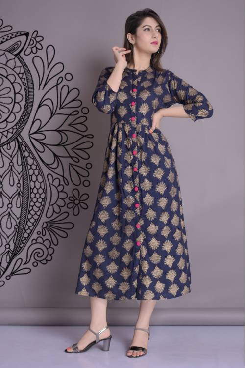 The Style Story Blue Rayon Printed Flared Kurti