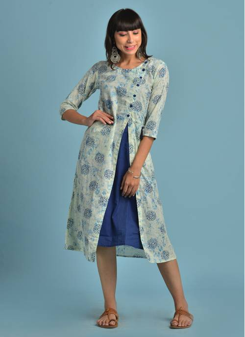 Cotton Printed Blue Color Layered Kurti With Front Pockets