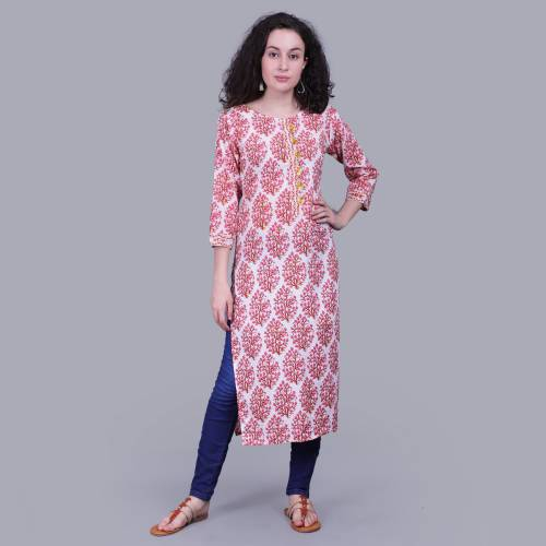 Red Cotton Floral Printed Straight Kurta Featuring Handmade Gota Buttons