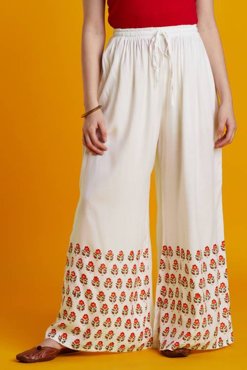 Craftsvilla White  Rayon Booti Printed Palazzo With Elasticated Waistband
