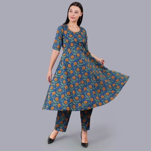 Blue Cotton Floral Printed Flared Kurta With Palazzo Featuring Sequin