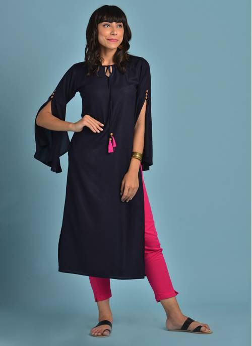 Rayon Navy Blue Solid Kurti With Long Bell Sleeves And Tassels