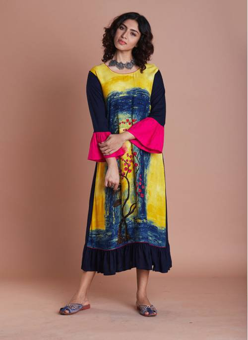 6c1d6089e1 Buy Yellow Rayon Panel Printed Gathers With Bell Sleeves Yellow And Jaipuri  Traditional Prints Online | Craftsvilla