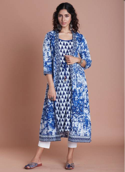 Blue Layered Printed A-line Kurta