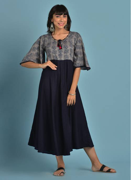 Rayon Grey And Blue Combination Flared Kurti Featuring Cape Sleeves