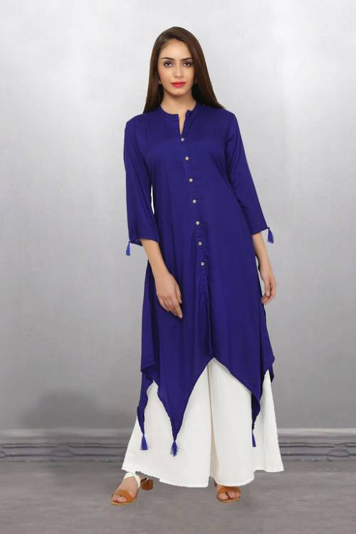 Blue Rayon Plain Calf Length High Low Hem Kurti