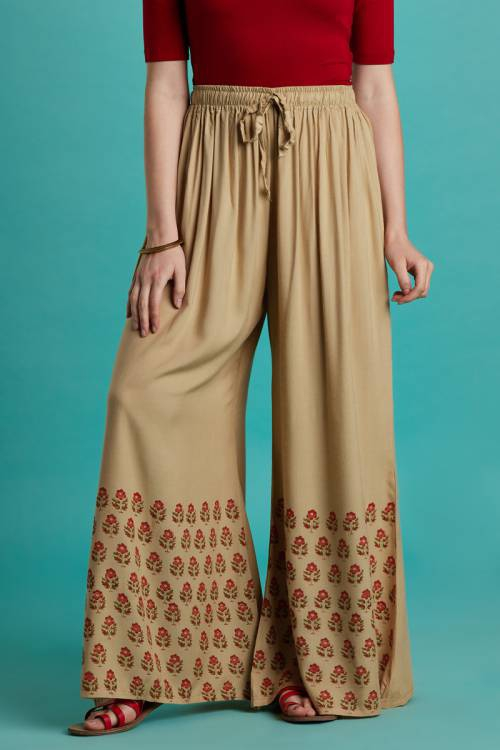 Craftsvilla Beige Rayon Booti Printed Palazzo With Elasticated Waistband
