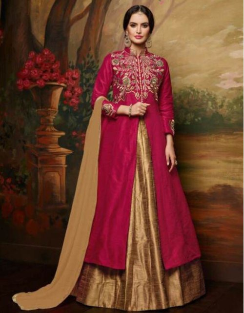 Craftsvilla Beige And Pink Color Bangalore Silk Embroidered Traditional Semi-stitched Straight Salwar Suit