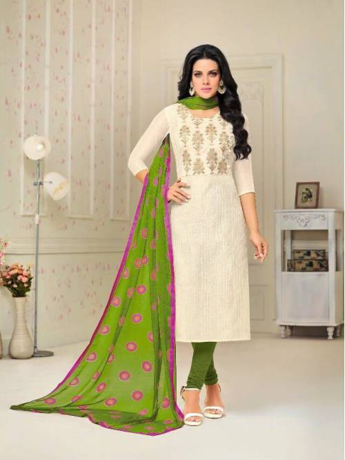 Craftsvilla White -green Color Chanderi Embroidered Traditional Semi-stitched Straight Salwar Suit