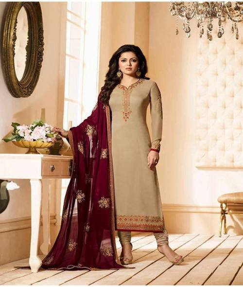 Craftsvilla Beige Orangecolor Georgette Embroidered Traditional Unstitched Straight Churidar Suit