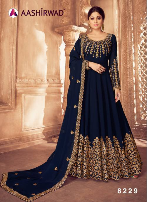 Aashirwad Blue Georgette Embroidered Semi Stitched Anarkali Suit