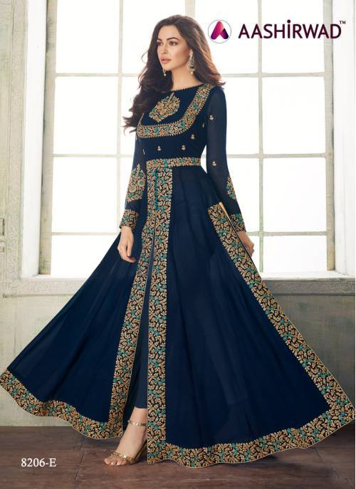 Blue Georgette Embroidered Semi Stitched Anarkali Suit