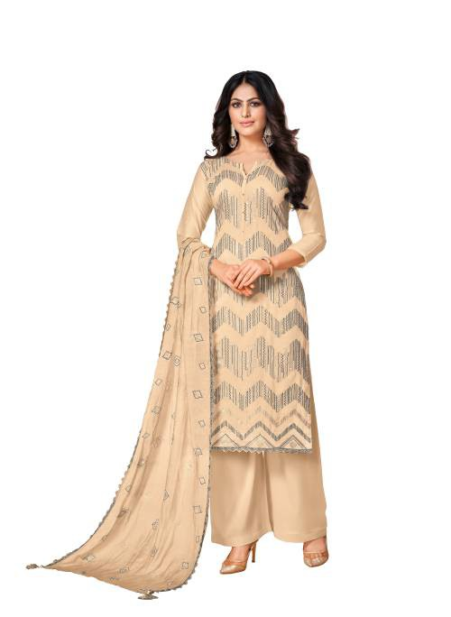 Me Lady Beige Satin Embroidered Semi Stitched A Line Style Suit