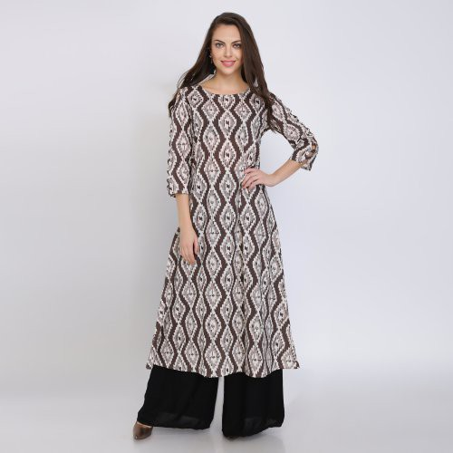 Anuswara Brown Color Cotton Printed Knee Length Straight Kurti