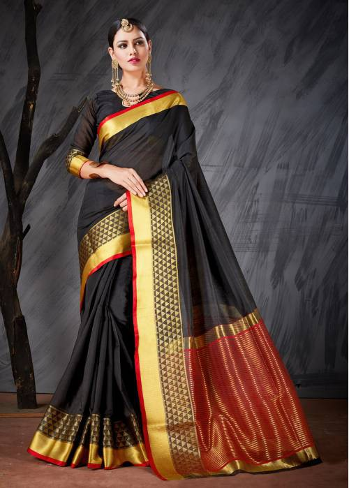 Craftsvilla Black Color Cotton Silk Jacquard Kanjeevaram Embellished Designer Saree