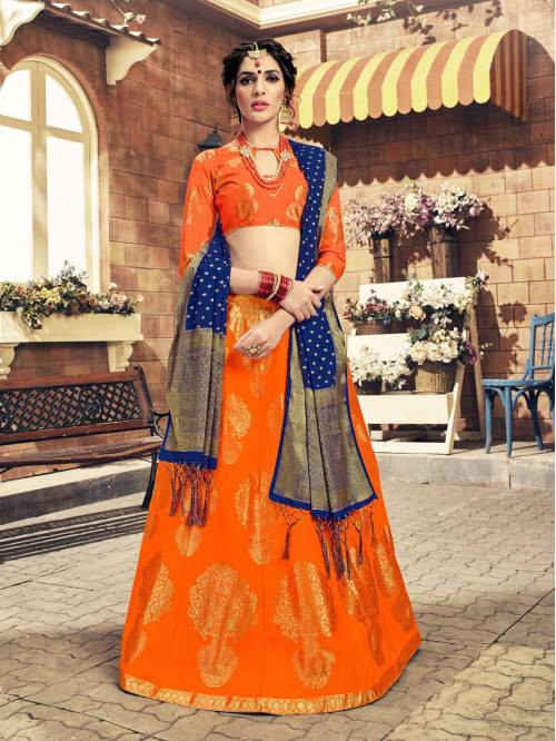 Craftsvilla Orange Color Banarasi Silk Jacquard Semi-stitched Designer Lehenga Choli