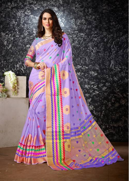 2e5ec20f5a Buy Craftsvilla Purple Color Cotton Silk Jacquard Kanjeevaram Embellished  Designer Saree Online | Craftsvilla