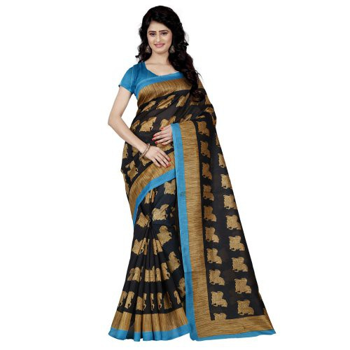 Craftsvilla Black Color Bhagalpuri Silk Printed  Traditional Saree With Unstitched Blouse