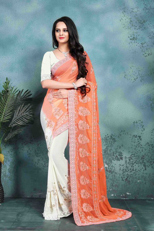 Craftsvilla Orange  Color Faux Georgette Embroidered Bollywood Style Saree With Blouse Piece