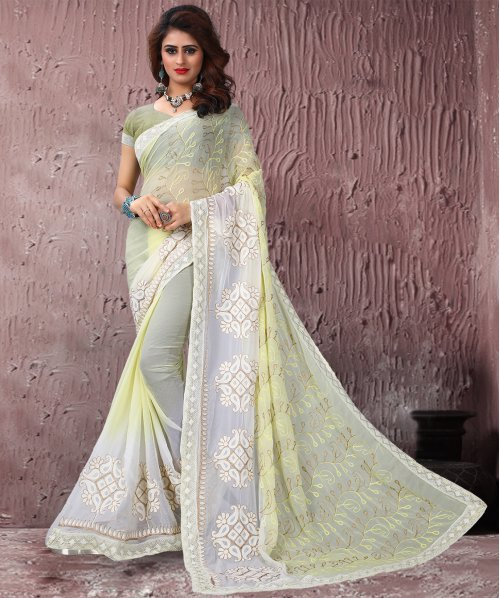 Craftsvilla Yellow Color Faux Chiffon Embroidered Saree With Unstitched Blouse Piece