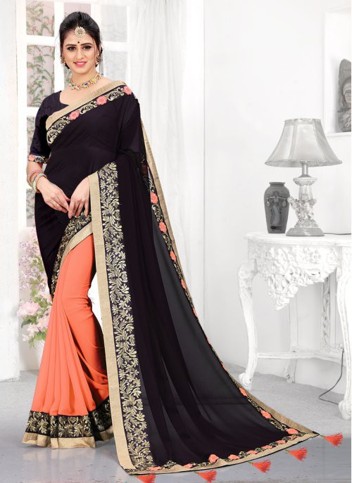 Craftsvilla Orange Georgette Traditional Saree With Unstitched Blouse Material