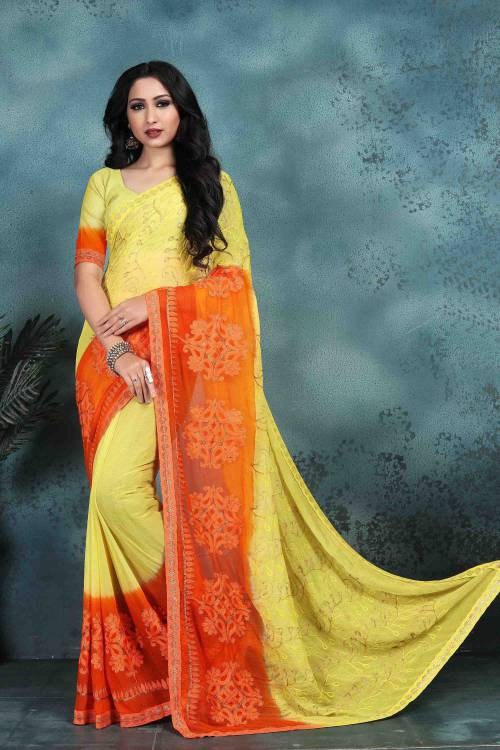 Craftsvilla Yellow Color Faux Georgette Embroidered  Saree With Blouse Piece