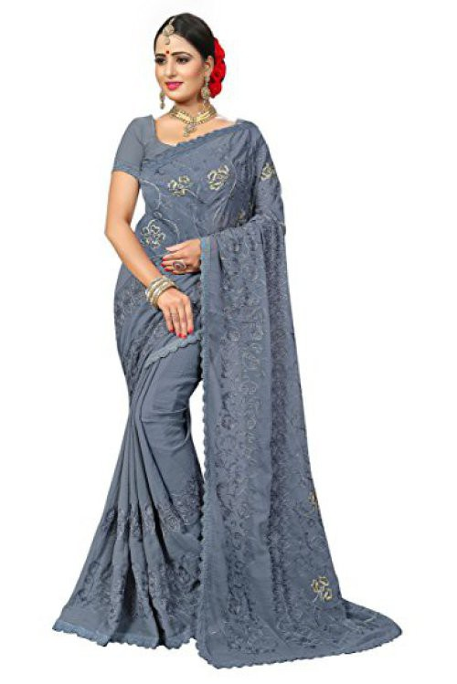 Craftsvilla Grey Color Faux Chiffon Embroidered Traditional Saree