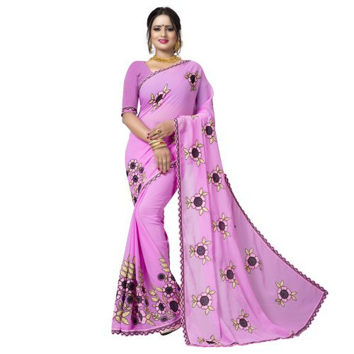 Craftsvilla Pink Georgette Embroidered  Designer Saree With Unstitched Blouse Material