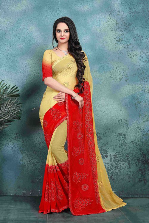Craftsvilla Red Color Faux Georgette Embroidered Bollywood Style Saree With Blouse Piece