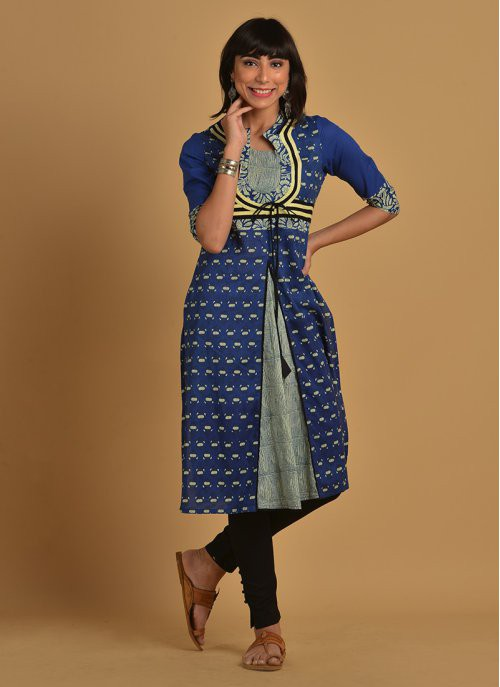 Blue Cotton Blend  Printed Front Knife Pleated Solid Piping Details Kurti