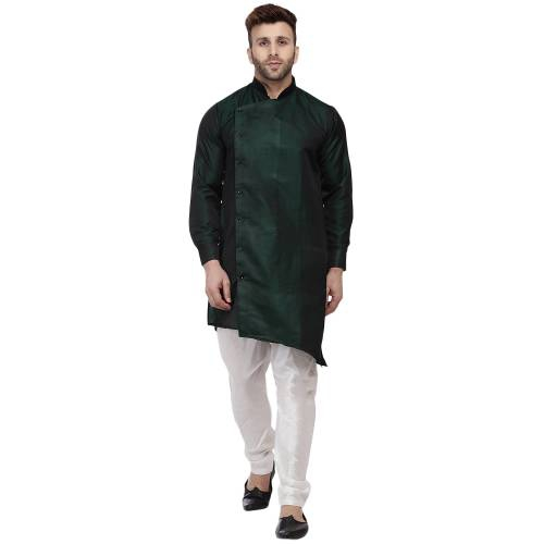 Veera Paridhaan Green Tafetta Silk Side Button Cross Kurta