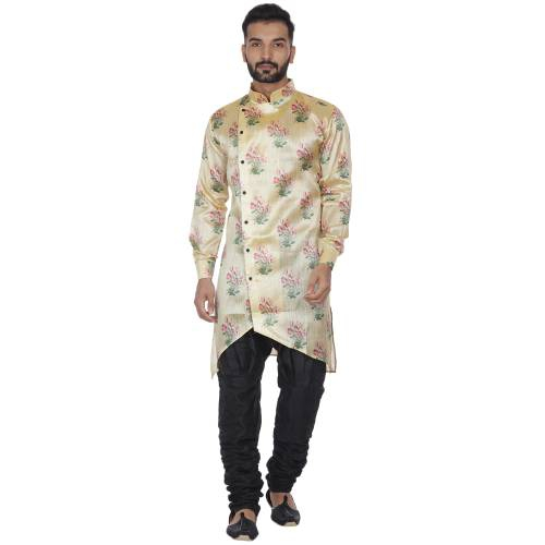 Veera Paridhaan Men\'s Beige Printed Zig Zag Long Silk Kurta