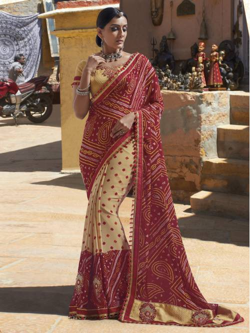 Red Georgette Lace Work Partywear Saree With Unstitched Blouse Material