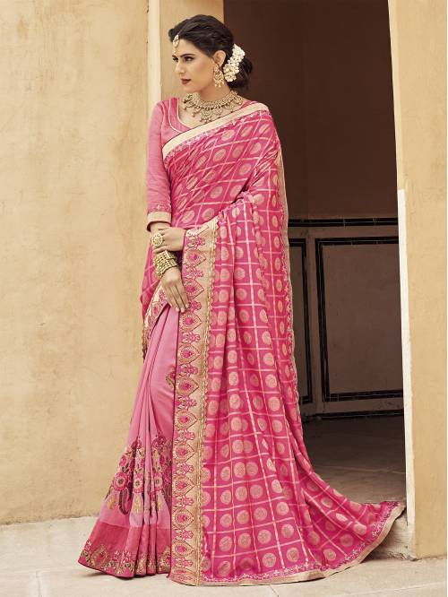 Pink Banarasi Silk Embroidered Designer Saree With Unstitched Blouse Material
