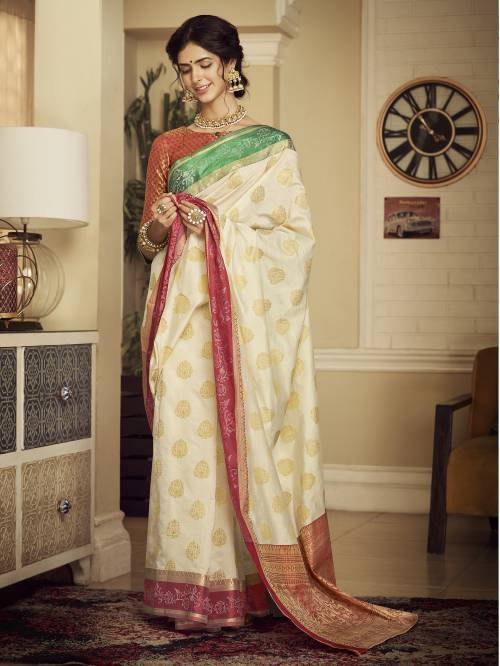 Off White Silk Designer Woven Saree With Unstitched Blouse Material