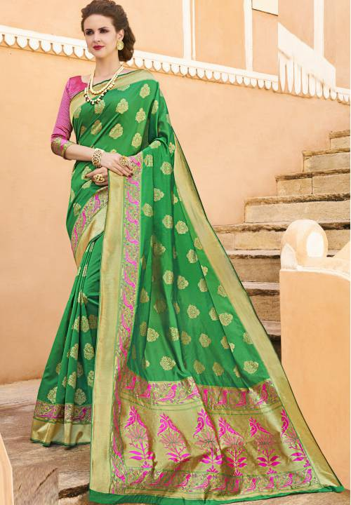 Green Silk Blend Woven Partywear Saree With Unstitched Blouse Material