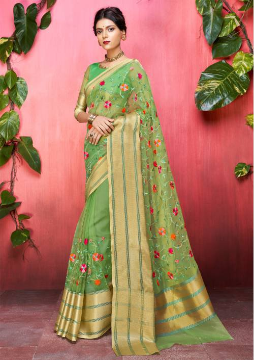 Craftsvilla Green Organza Resham Embroidery Saree With Unstitched Blouse Material