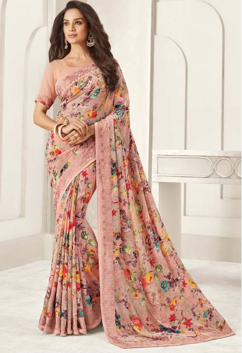 Craftsvilla Pink Georgette Lace Work Designer Saree With Unstitched Blouse Material
