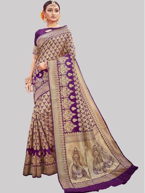 Purple Banarasi Silk Woven Saree With Unstitched Blouse Material