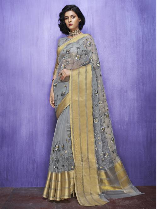 Craftsvilla Grey Organza Resham Embroidery Saree With Unstitched Blouse Material