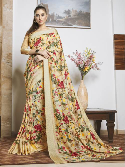 Peach Linen Floral Printed Saree With Unstitched Blouse Piece