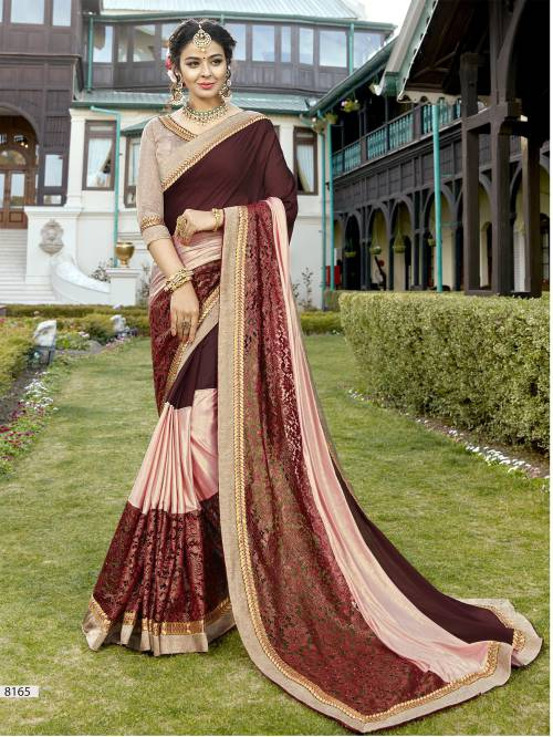 Craftsvilla Maroon And Peach Color Georgette Resham Embroidered Designer Saree