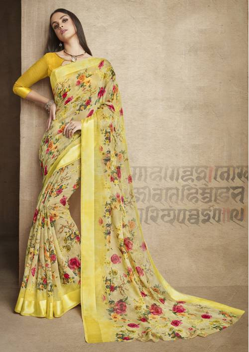 Craftsvilla Yellow Linen Printed Designer Saree With Unstitched Blouse Material