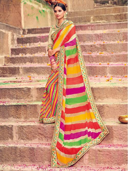 Multicolor Georgette Lehariya Designer Saree With Unstitched Blouse Material